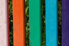 Painted planks. Painted in different colors close-up plank benches Royalty Free Stock Photography