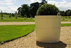 Painted planter. A large painted planter with plan in the context of a beautiful landscaped garden stock photography