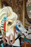 Painted Pony 1. Old merry go round at the fair. These painted ponies have seen better days Stock Photos