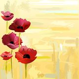 Painted poppies background Stock Photos
