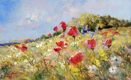 Painted poppies on summer meadow stock illustration