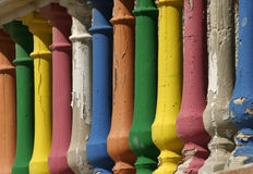 Painted Porch Pillars. Colorful Painted Porch Pillars Royalty Free Stock Photo
