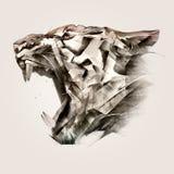 Painted portrait of animal tiger muzzle side. Sketch portrait of animal tiger muzzle side royalty free illustration