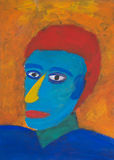 Painted portrait of colorful man. Painting of male human portrait. This expressionistic artwork is called 'Man during sunset Royalty Free Stock Image