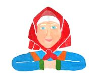 Painted portrait of a healthy senior old woman grandmother in a red kerchief and in a blue dress with a smile on a white vector illustration