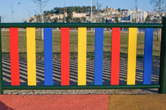 Painted posts on a playground Royalty Free Stock Image