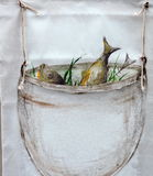 Painted pot with fish Stock Photography