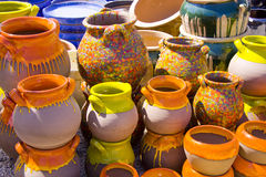 Painted pots Royalty Free Stock Image