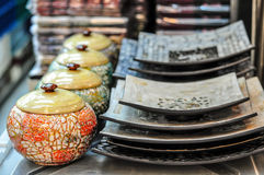 Painted Pottery. Painted Ceramic Pottery In Thai Handmade Style For Home Decoration Stock Photo