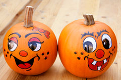 Painted pumpkins Royalty Free Stock Photos