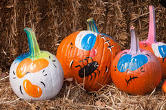 Painted Pumpkins. Pumpkins are painted for decoration Royalty Free Stock Photo