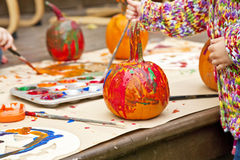 Painted Pumpkins Royalty Free Stock Images