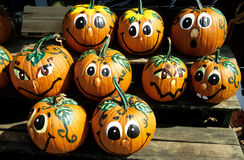 Painted pumpkins faces Royalty Free Stock Photos
