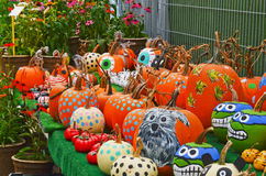 Painted Pumpkins at Farmers Market Stock Photos