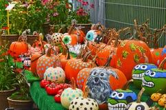 Painted Pumpkins at Farmers Market Stock Photos