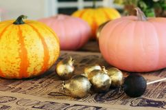 Painted pumpkins and gold garnets on the craft paper in the crea Stock Photos