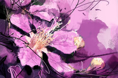 Painted purple flowers watercolor style , Lagerstroemia Royalty Free Stock Photo