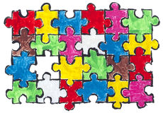 Painted puzzles  abstract concept Stock Photography