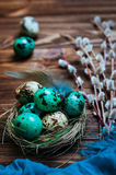 Painted quail eggs in natural nest with willow branches over rus Stock Photography