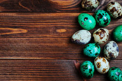 Painted quail eggs over rustic wooden background Royalty Free Stock Photos