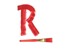 Painted R letter with brush isolated on pure white Stock Images
