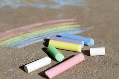 Painted rainbow colored chalk. On the pavement Royalty Free Stock Photography