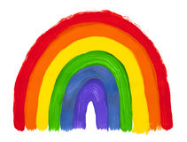 Painted Rainbow. Colorful Painted Rainbow Stripes Isolated on White Background Stock Images