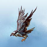 Painted realistic osprey flying in the sky royalty free illustration