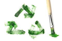 Painted recycle symbol. Over white Royalty Free Stock Photo