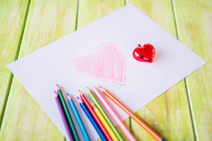 Painted red heart and Christmas heart Royalty Free Stock Photography