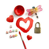 Painted red heart Stock Photos