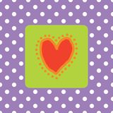 Painted red heart with polkadots vector illustration
