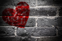 Painted Red Heart Shape on Black Brick Wall Royalty Free Stock Photo