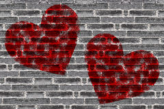Painted Red Heart Shape on Black Brick Wall Royalty Free Stock Photography