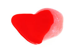 Painted red heart shaped Stock Image