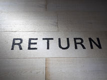 Painted Return word. Return word painted on wooden wall Stock Photo