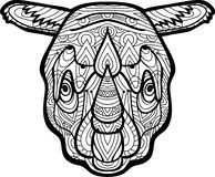 Painted the Rhinoceros with tribal patterns. Zendoodle Stock Photos