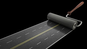 Painted road isolated on black. Background High resolution 3D Stock Photography