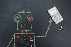 Painted robot with electric parts is holding a calculator vector illustration