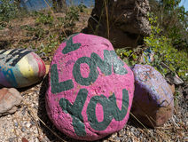 Painted rock with a message Royalty Free Stock Images