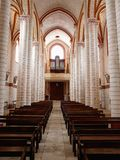 Painted Romanesque church interior Stock Photo