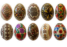 Painted romanian eggs for easter isolated stock photography