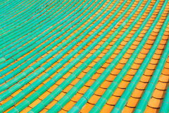 Painted Roof Tiles on a Chinese Buddhist Temple Stock Image