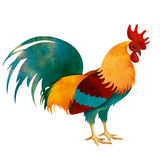 Painted Rooster isolated on white with clipping path Royalty Free Stock Photo