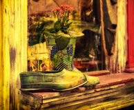 Painted rubber boots and overshoe done in bright vintage Royalty Free Stock Photo