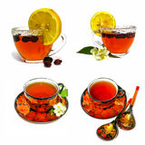 Painted Russian tea pair on white background Royalty Free Stock Photography