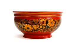 Painted Russian Wooden Bowl Isolated Stock Photos