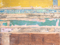 Painted rustic boarding on the wall, texture material. Stock Photo