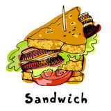 Painted sandwich with bread tomato ham bacon lettuce. Royalty Free Stock Photos