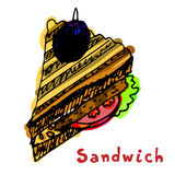 Painted sandwich with bread tomatocutlet chop patty meatbal Royalty Free Stock Images